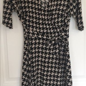 Houndstooth Faux Wrap Style Dress